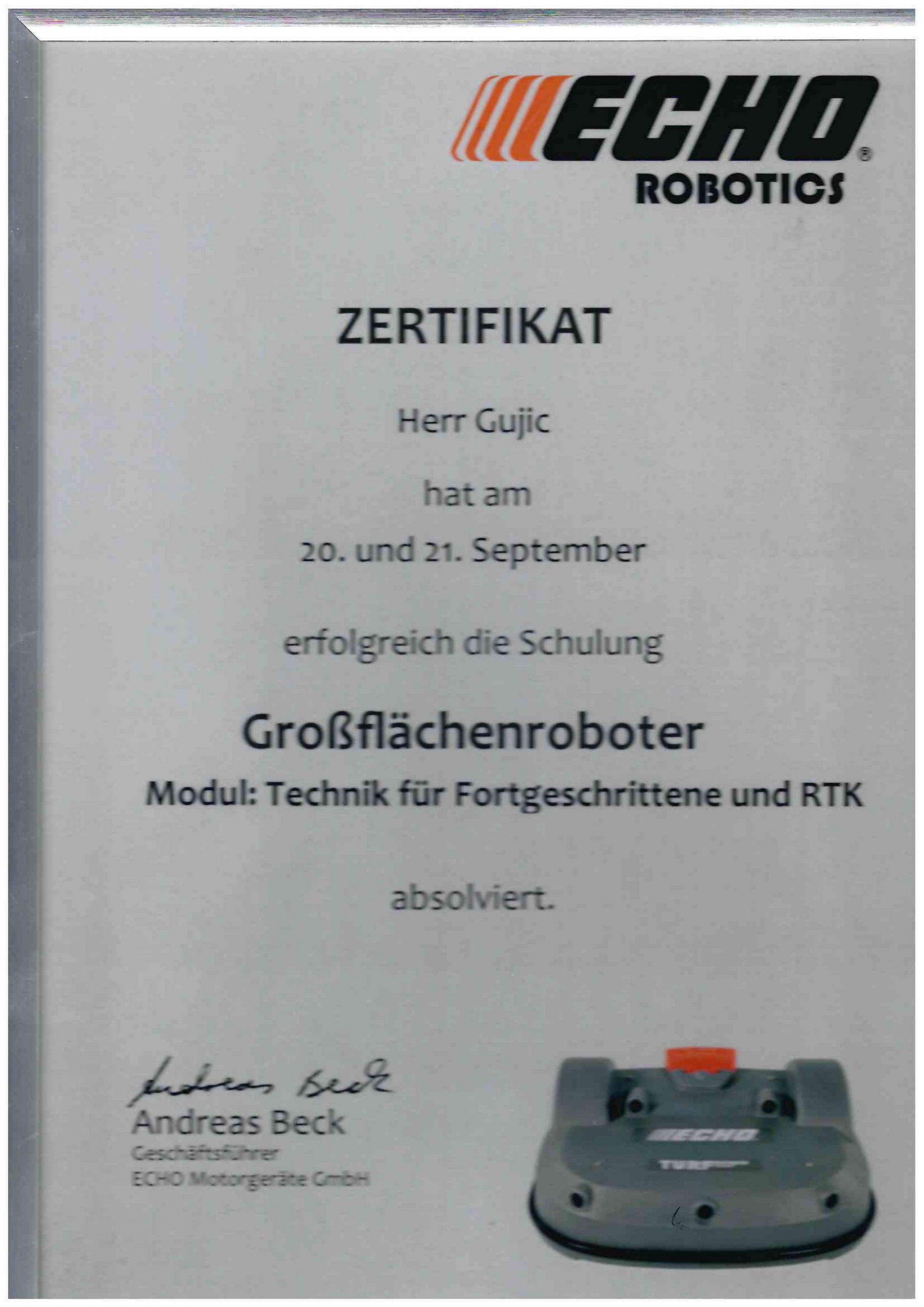 Zertifikat Herr Gujic