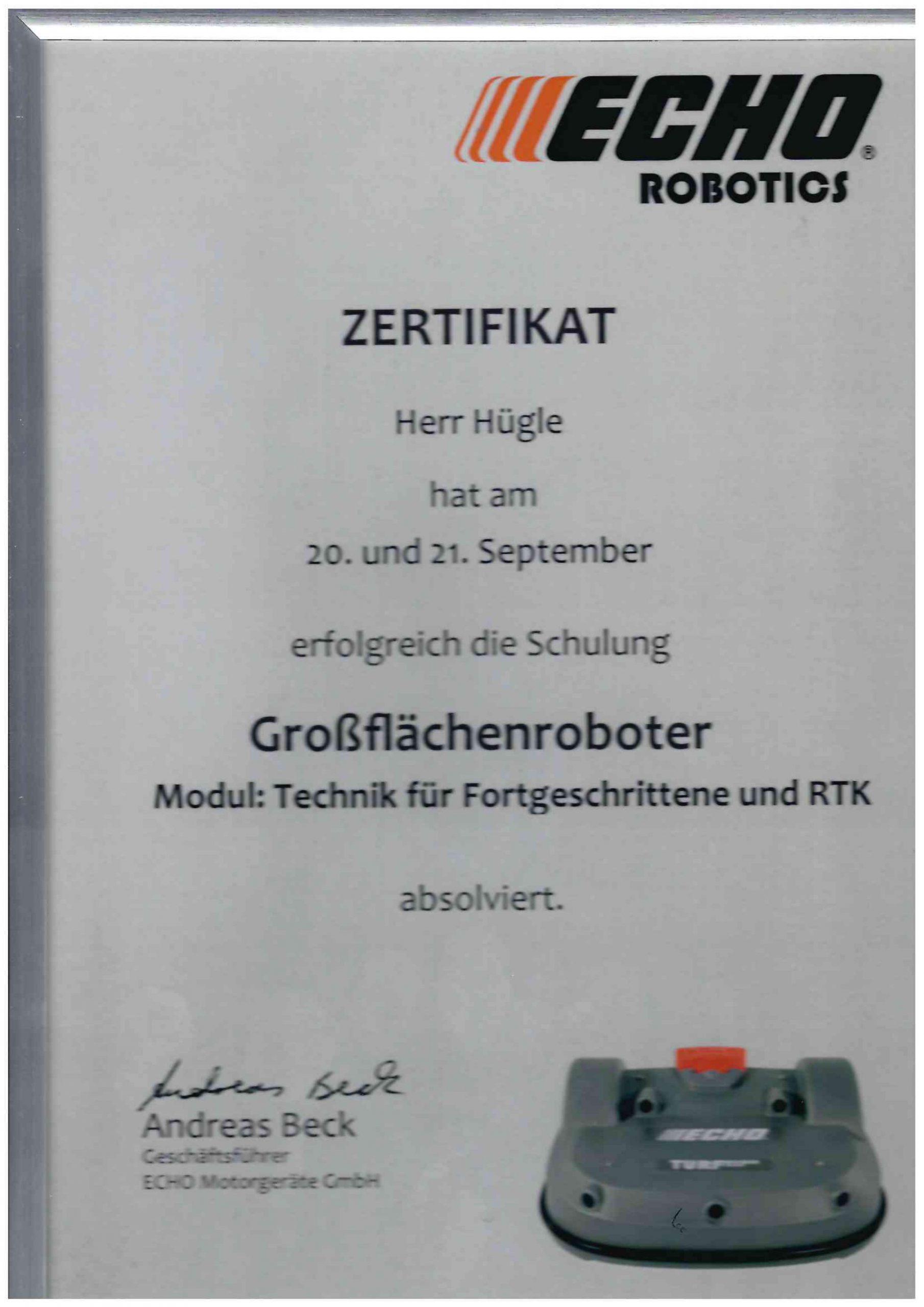 Zertifikat Herr Hügle