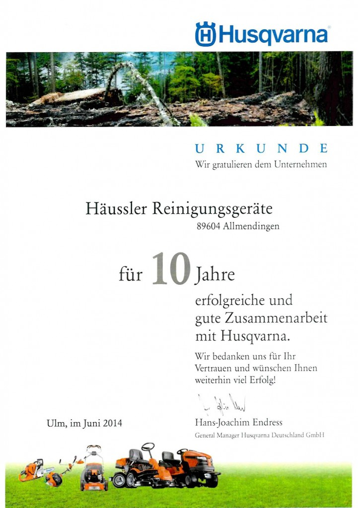Urkunde-10-Jahre-Husqvarna-Haendler