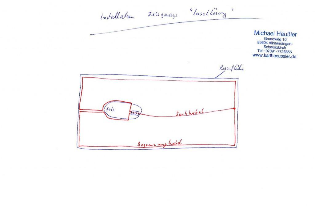 Maehroboter-Felsgarage-Inselinstallation