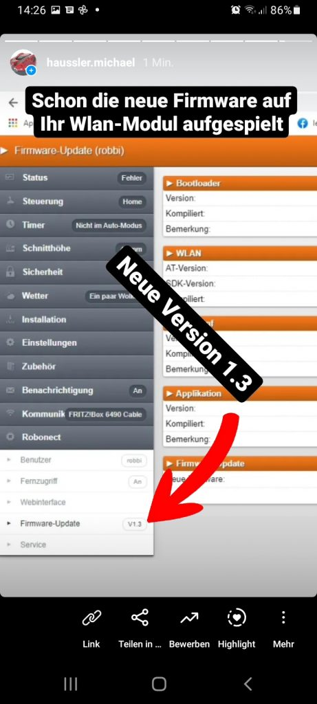WLAN-Firmware-Update für Rasenroboter